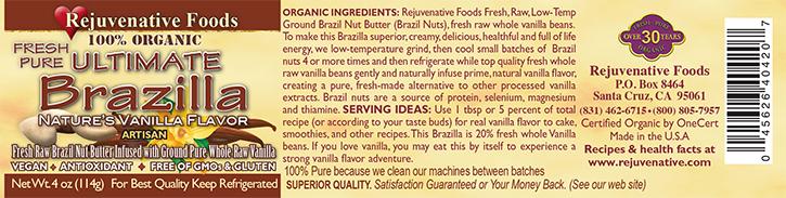 Fresh Raw Brazilla|Brazil Nut Butter|Vanilla Organic label Pure |In Glass||Low-Temp|creamy|Plastic free||satisfaction guarantee||vitamin E||B complex vitamins|