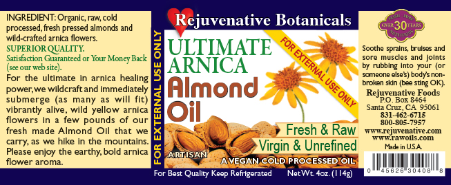 Fresh-Live Wild Arnica Virgin-Organic-Almond-Oil-Infusion Rejuvenative Foods label Raw Pure Certified-Organic except Wild Arnica-Flowers All-Low-Temp-Processed In-Amber-Glass for-Skin Ayurvedic-Unrefined Vitamins-E-B6-riboflavin-niacin-thiamin-folates Minerals-copper-manganese-magnesium-phosphorus-iron-zinc-calcium  healing anti-inflammatory