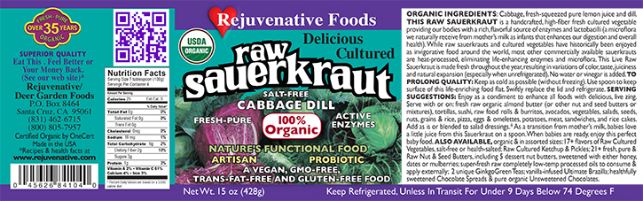 Fresh Organic label Pure Probiotic Cultured Raw Live Enzyme|Salt Free|Sauerkraut||Cabbage Dill||Fermented Vegetables||In Glass|lactobacillus acidophilus|satisfaction guarantee|
