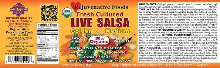Fresh Organic Label Pure Probiotic Cultured Raw Live Enzyme|Golden Salsa|Carrots|Fermented Vegetables||In Glass|lactobacillus acidophilus|satisfaction guarantee|