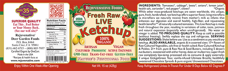 Fresh Organic label Pure Probiotic Cultured Raw Live Enzyme Ketchup Tomatoes Fermented Vegetables In Glass lactobacillus acidophilus satisfaction guarantee sugar free