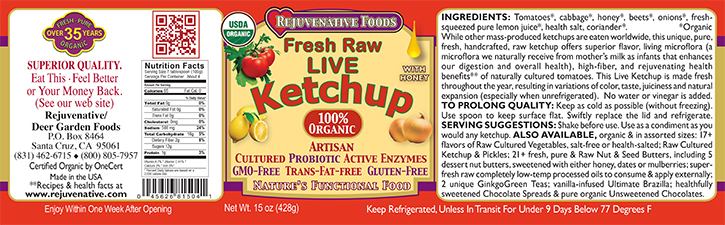 Fresh Organic label Pure Probiotic Cultured Raw Live Enzyme Ketchup With Honey Tomatoes Fermented Vegetables In Glass lactobacillus acidophilus satisfaction guarantee