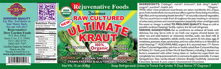 Fresh Organic label Pure Probiotic Flora Cultured Glass Jar Enzymes Raw Ultmate Kraut lactobacillus acidophilus satisfaction guarantee