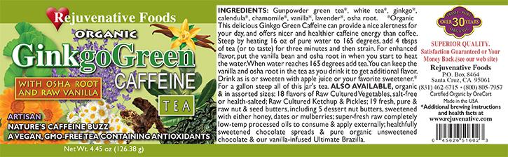 Organic Ginkgo Green Caffeine Osha Label Vanilla Calendula-Chamomile-Lavender-Gunpowder and White Dry Loose Leaf Tea-Bag-Free Health Tea in Glass Jar to Steep-Makes Gallon Rejuvenative Foods