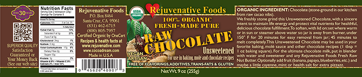  Stone Ground  In Our Kitchen Pure Fresh Organic label Chocolate Raw Unsweetened Dairy Free Smooth  GMO Free  Gluten Free Antioxidants Cardiovascular Benefits 