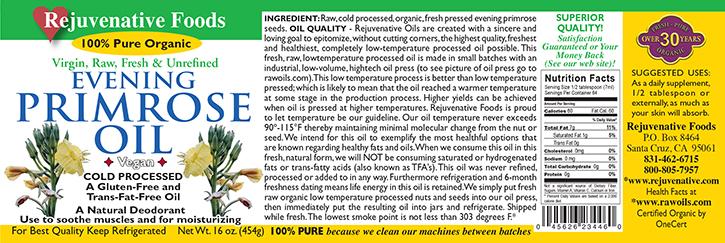 Virgin Unrefined Fresh Pressed Raw Evening primrose Oil Cerified Organic label Pure glass jar Plastic free satisfaction guarantee cold processed life energy