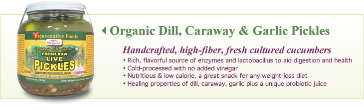 Organic Dill, Caraway and Garlic Pickles - handcrafted, high-fiber, fresh cultured cucumbers with no added vinegar